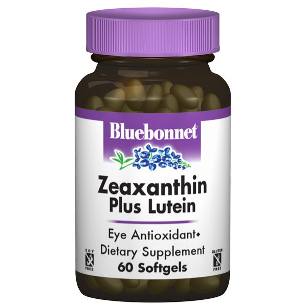 A bottle of Bluebonnet Zeaxanthin Plus Lutein