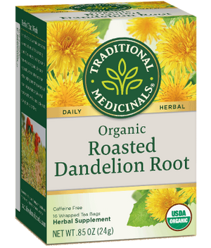 A box of Traditional Medicinals Organic Roasted Dandelion Root Tea