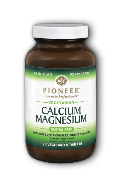 A jar of Pioneer Calcium Magnesium - Vegetarian