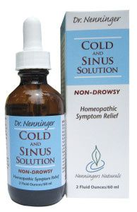 A bottle and package of Nenninger Naturals Cold & Sinus Solution