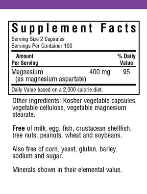 Supplement Facts for Bluebonnet Magnesium Aspartate 400 mg
