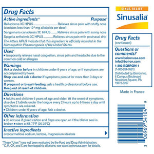 Back of package with Drug Facts for Boiron Sinusalia® Tablets