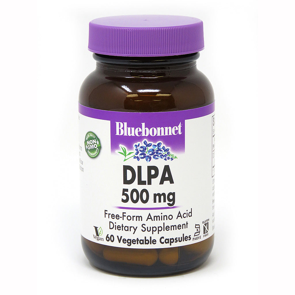 A bottle of Bluebonnet DLPA 500 Mg