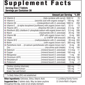 Supplement Facts for Megafood Multi for Men 55+