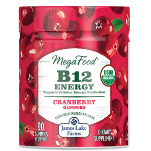 A jar of Megafood Gummy B12 Energy - Cranberry