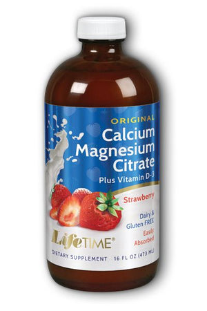 A bottle of Calcium Magnesium Citrate Plus Vitamin D3 16 fl oz Strawberry