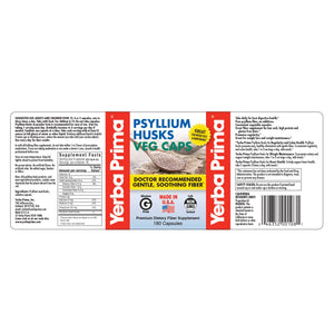 Label with supplemental facts and additional info for Yerba Prima Psyllium Husks Veg Caps