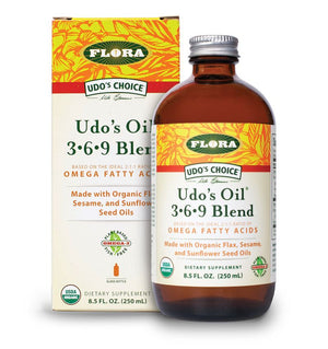A package and bottle of Flora Udo's Oil® 3•6•9 Blend
