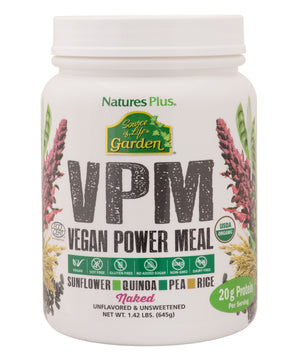 A jar of Nature's Plus Source of Life Garden VPM Vegan Power Meal