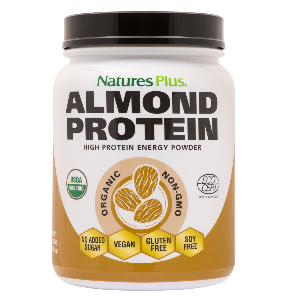 A jar of Nature's Plus Organic Almond Protein