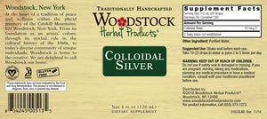 Label for Woodstock Herbal Products Colloidal Silver 4 oz