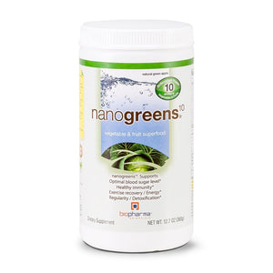 A jar of BioPharma Nanogreens - green apple