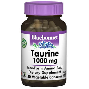 A bottle of Bluebonnet Taurine 1000 mg