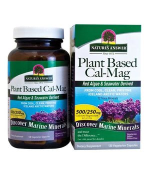 A jar and package of Nature's Answer Plant Based Cal/Mag 120 Capsules 250/125