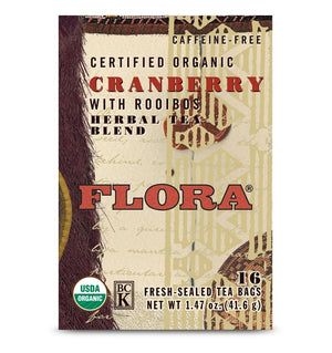 A box of Flora Cranberry with Rooibos Tea