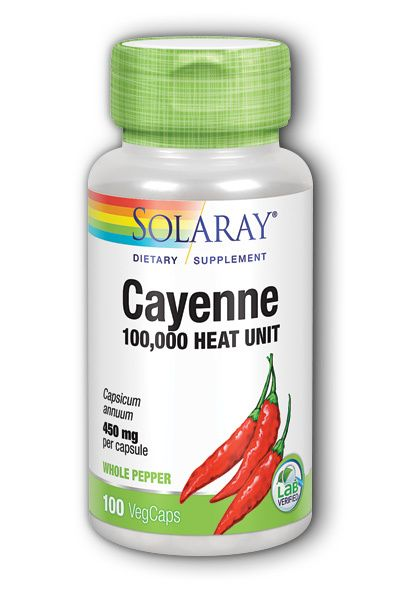 A bottle of Solaray Cayenne 100 000 Heat Unit