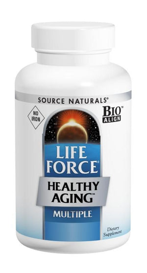 A bottle of Source Naturals Life Force® Healthy Aging™ No Iron