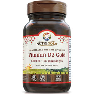 A bottle of NutriGold Vitamin D3 Gold 5000 IU - Mini Softgels