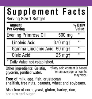 Supplement Facts for Bluebonnet Evening Primrose Oil 500 Mg
