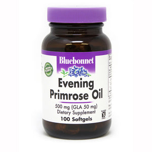 A bottle of Bluebonnet Evening Primrose Oil 500 Mg