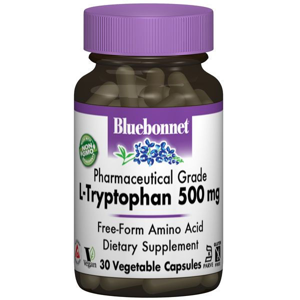 A bottle of Bluebonnet L-Tryptophan 500 mg