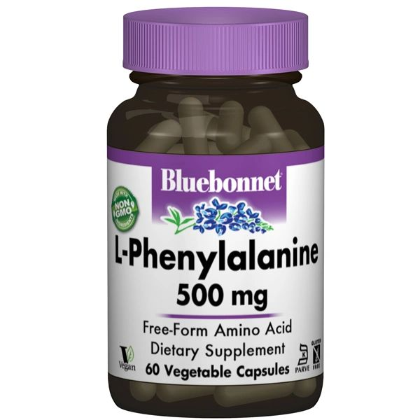 A bottle of Bluebonnet L-Phenylalanine 500 mg