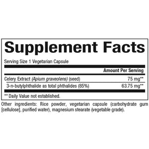 Supplement Facts for Natural Factor Celery Seed Extract