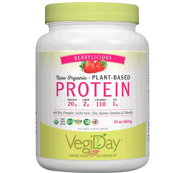 A bottle of Natural Factors VegiDay™ Raw Organic Plant-Based Protein Berrylicious