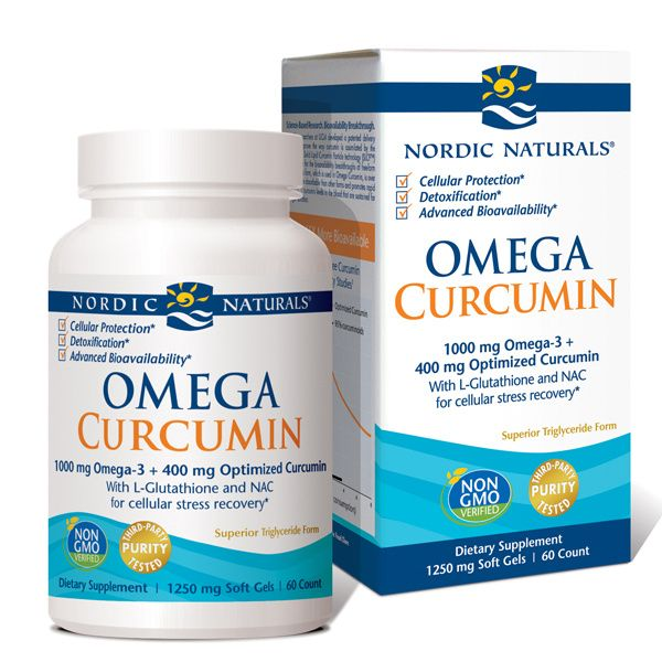 A package and bottle of Nordic Naturals Omega Curcumin
