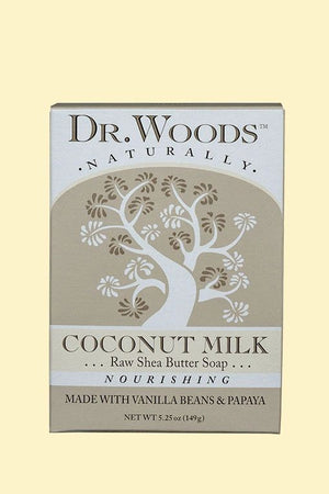 A package of Dr. Woods Bar Soap Coconut Milk