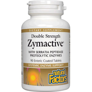 A bottle of Natural Factors Zymactive® Proteolytic Enzyme Double Strength