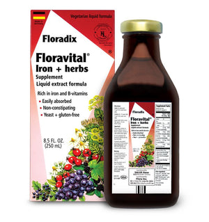 A package and bottle of Flora Floravital® Iron + Herbs Vegan Formula