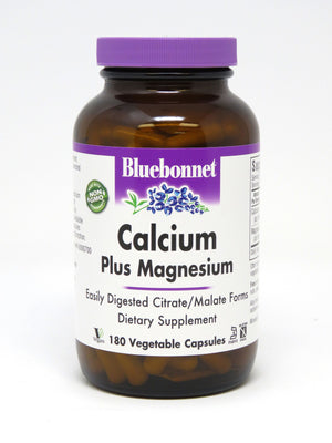 A bottle of Bluebonnet Calcium Plus Magnesium Capsules