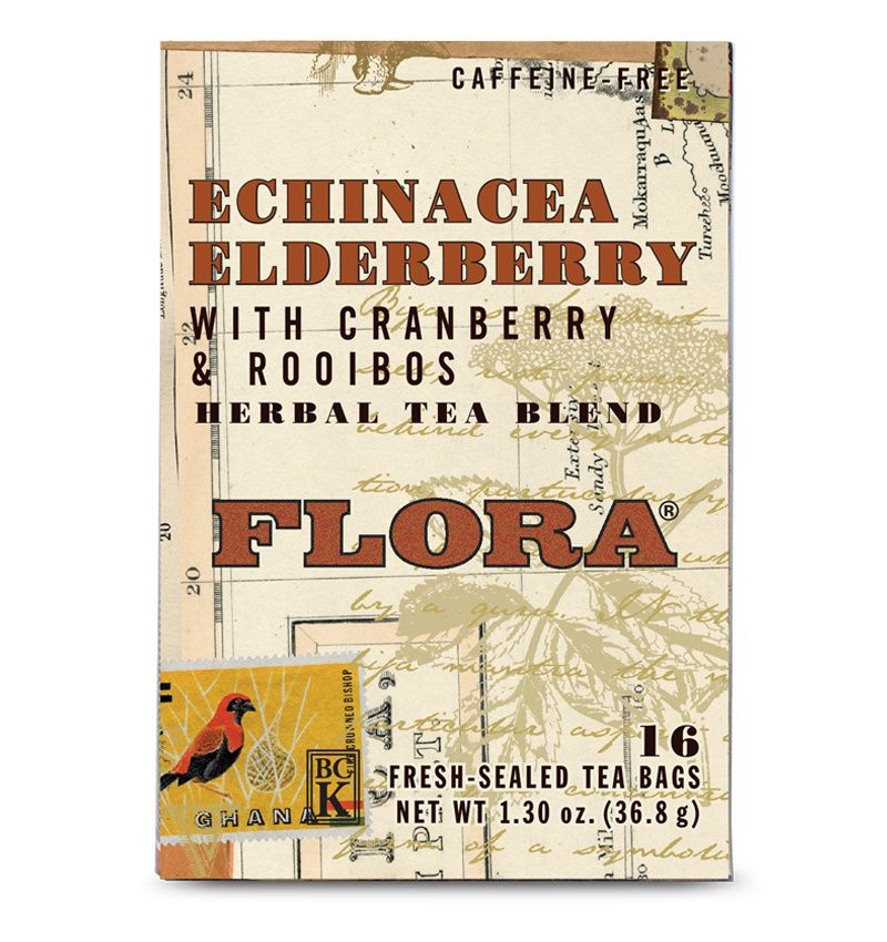 A box of Flora Echinacea Elderberry Tea