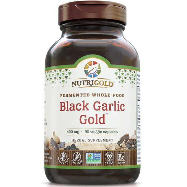A bottle of NutriGold Black Garlic Gold