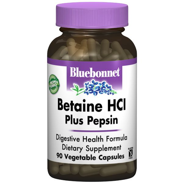 A bottle of Bluebonnet Betaine HCl Plus Pepsin