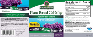 Label of with additional info and supplemental facts for Nature's AnswerPlant Based Cal/Mag 120 Capsules 250/125