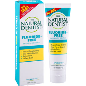 A package and tube of Natural Dentist Healthy Teeth & Gums Fluoride Free Antigingivitis Toothpaste Peppermint Sage