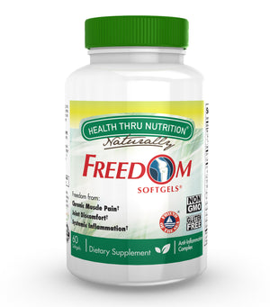 A bottle of Health Thru Nutrition Freedom Softgels®
