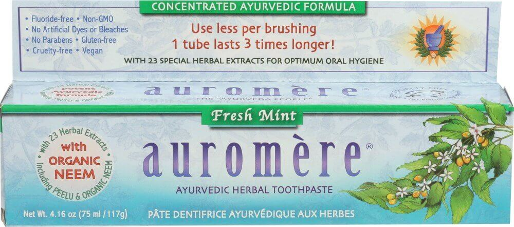 A package of Auromere Fresh Mint Ayurvedic Toothpaste