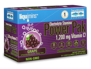 A box of Trace Minerals Electrolyte Stamina Power Pak NON-GMO Concord Grape