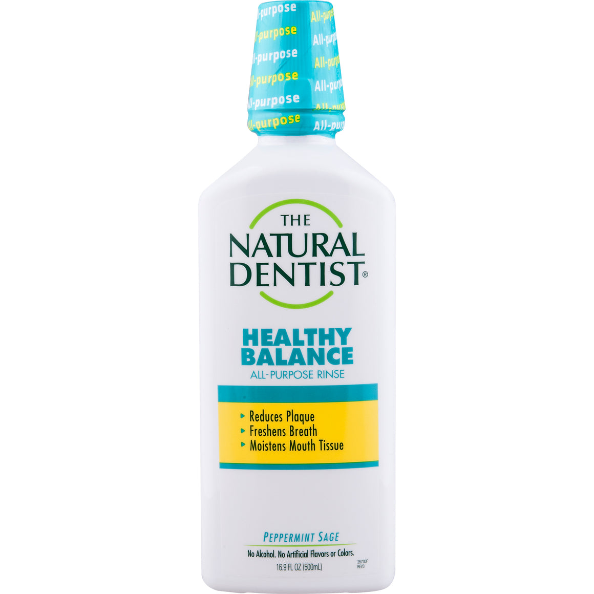 A bottle of Natural Dentist Healthy Balance Mouth Rinse Peppermint Sage