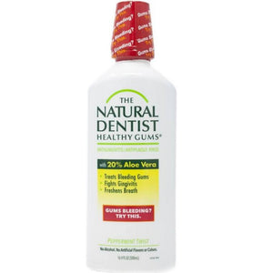 A bottle of Natural Dentist Healthy Gums Antigingivitis Rinse - Peppermint Twist