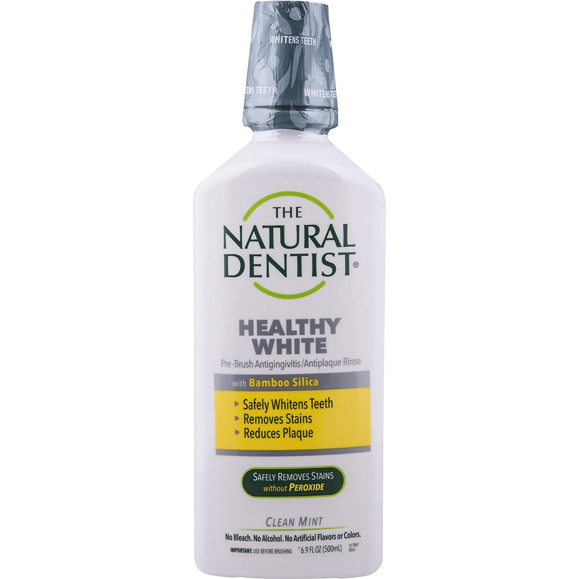 A bottle of Natural Dentist Healthy White Whitening Pre Brush Rinse Clean Mint