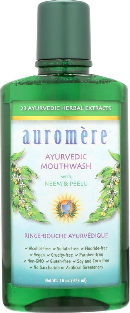 A bottle of Auromere Ayurvedic Mouthwash
