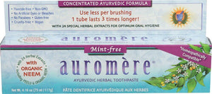 A package of Auromere Mint-Free Ayurvedic Toothpaste