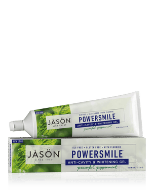 A tube and package of Jason Powersmile® Anti-Cavity & Whitening Gel Powerful Peppermint