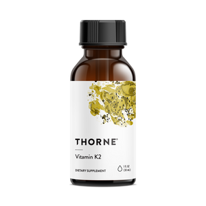 A bottle of Thorne Vitamin K2 liquid