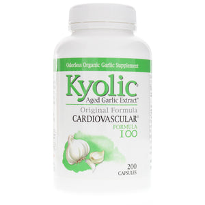 A bottle of A package of Kyolic Aged Garlic Extract Original Formula 100