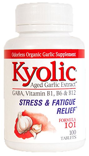 A bottle of Kyolic Aged Garlic Extract Stress & Fatigue Relief Formula 101